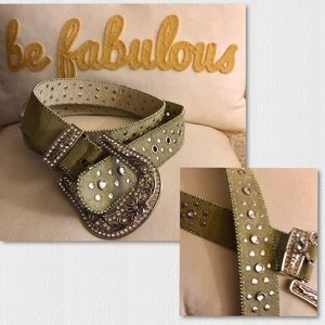 Accessories - Green Suede Western style belt w Studs & Sparkle